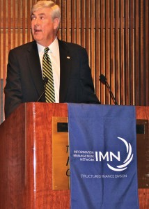 William (Woody) Sutton, ELFA president & CEO, addresses the ELFA/IMN Investor Conference attendees.